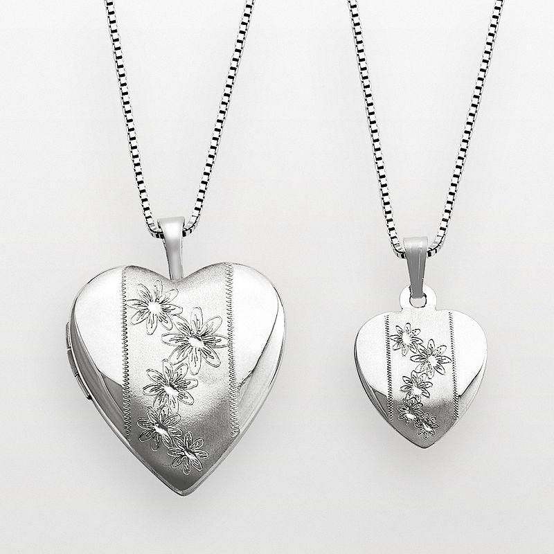 Sterling Silver Flower Heart Locket Set