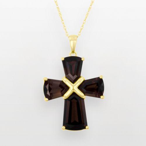 10k Gold Smoky Quartz Cross Pendant