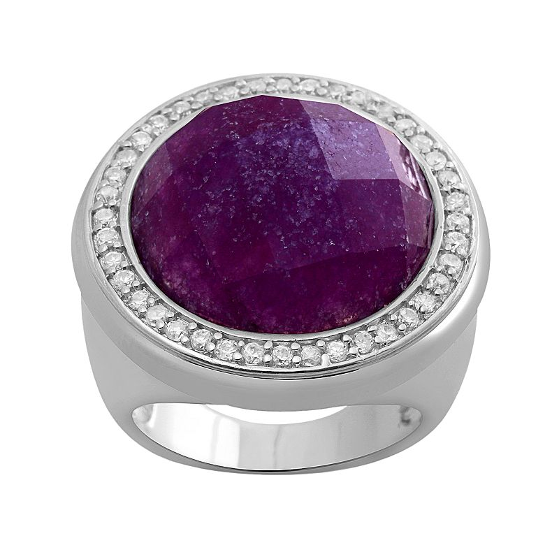 Sterling Silver Lavender Quartz and Cubic Zirconia Ring