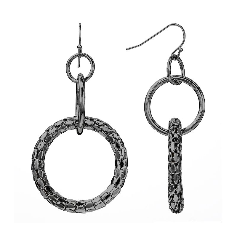 Apt. 9® Jet Mesh Hoop Drop Earrings