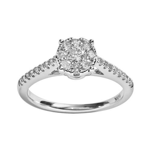 10k White Gold 1/2-ct. T.W. Round-Cut Diamond Ring
