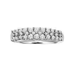Love Always Platinum Over Silver 3/4-ct. T.W. Round-Cut Diamond Wedding Band by
