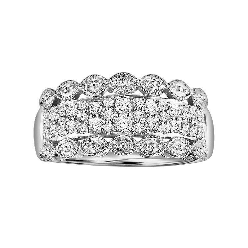 Love Always Platinum Over Silver 3/8-ct. T.W. Round-Cut Diamond Wedding Ring