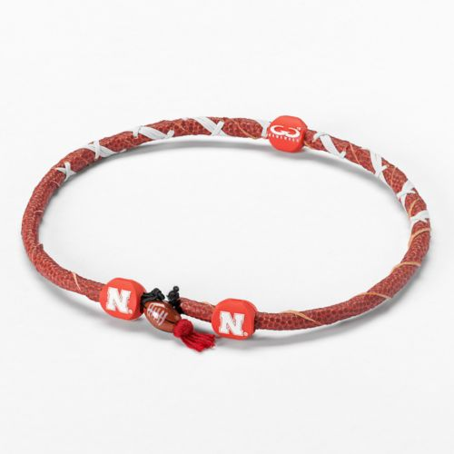 Spiral Nebraska Cornhuskers Leather Football Necklace