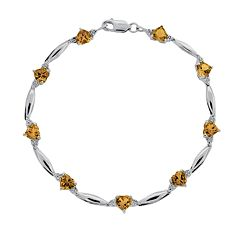 Sterling Silver Citrine & Diamond Accent Heart Bracelet by