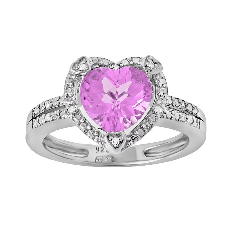 Sterling Silver Lab-Created Pink Sapphire and Diamond Accent Heart Frame Ring