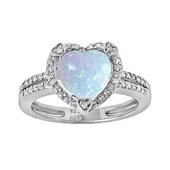 Sterling Silver Lab-Created Opal & Diamond Accent Heart Frame Ring by
