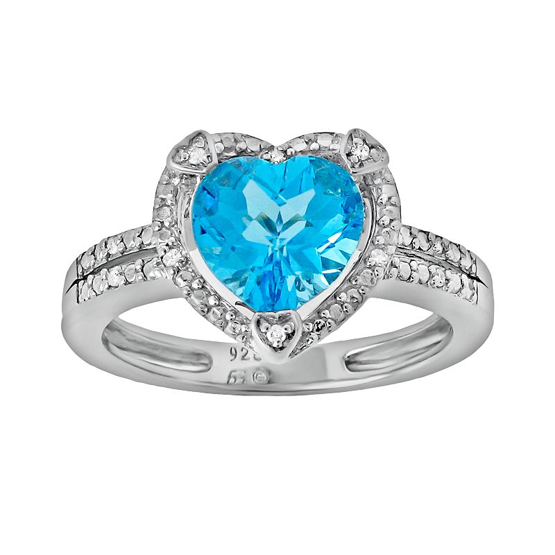 Sterling Silver Blue Topaz and Diamond Accent Heart Frame Ring
