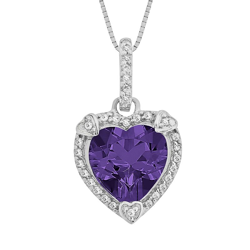 Sterling Silver Amethyst and Diamond Accent Heart Frame Pendant