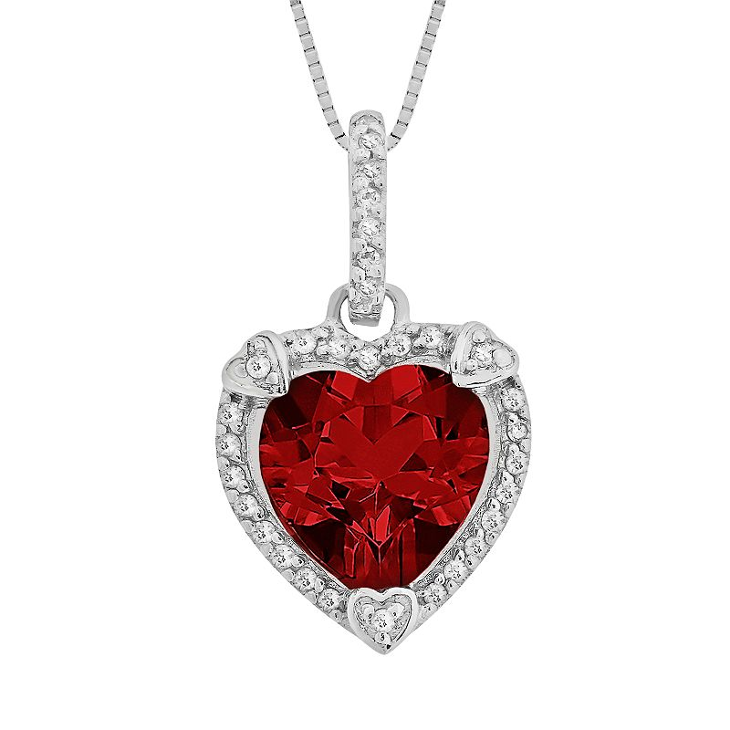 Sterling Silver Lab-Created Ruby and Diamond Accent Heart Frame Pendant