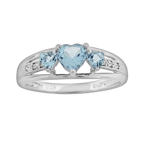 Sterling Silver Lab-Created Aquamarine and Diamond Accent Heart 3-Stone Ring