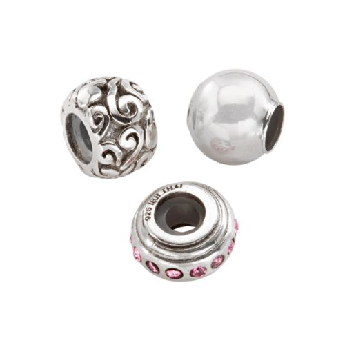 Individuality Beads Sterling Silver Pink Crystal and Swirl Stopper and Spacer Bead Set