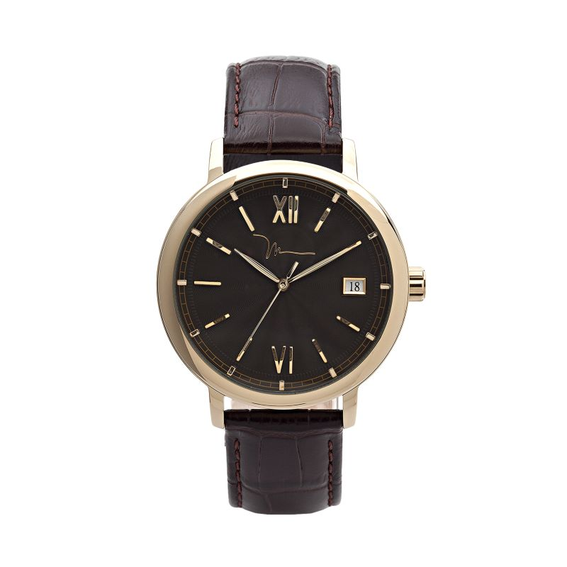 marc anthony gold tone stainless steel leather