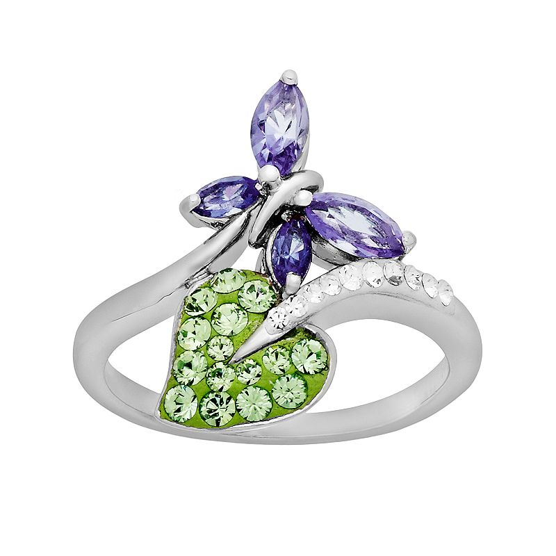 Artistique Sterling Silver Crystal Butterfly and Leaf Bypass Ring - Made with Swarovski Crystals