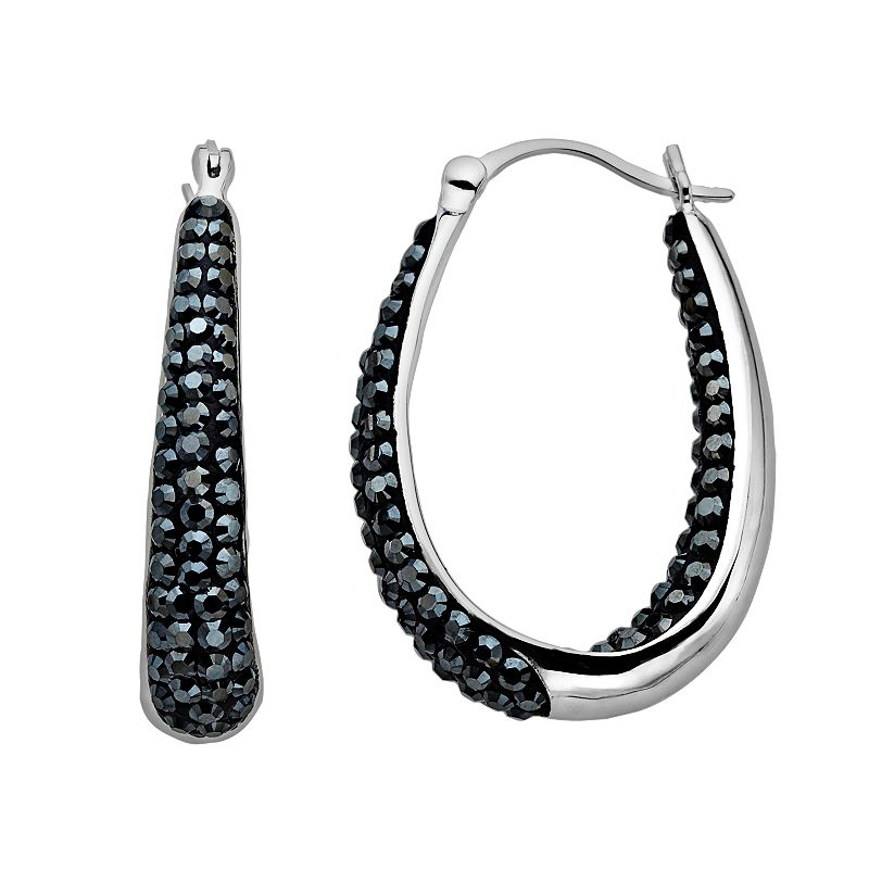 Artistique Sterling Silver Crystal Pear Hoop Earrings - Made with Swarovski Crystals