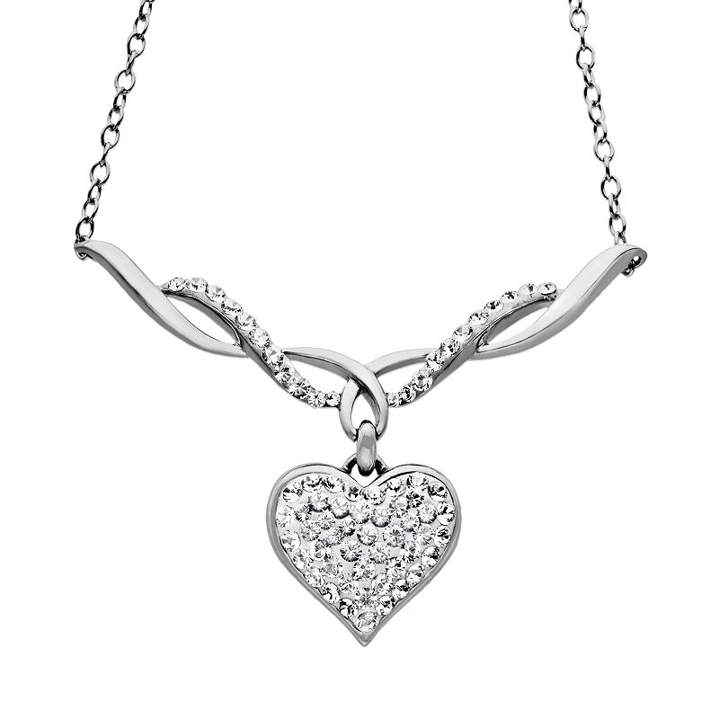 Artistique Sterling Silver Crystal Heart Pendant - Made with Swarovski Crystals
