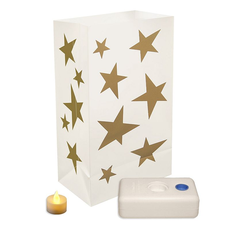 LumaBase 12-pk. Stars Flameless Tealight Candle Luminarias - Indoor and Outdoor