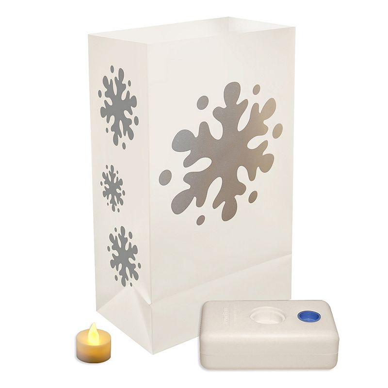 LumaBase 12-pk. Snowflake Flameless Tealight Candle Luminarias - Indoor and Outdoor