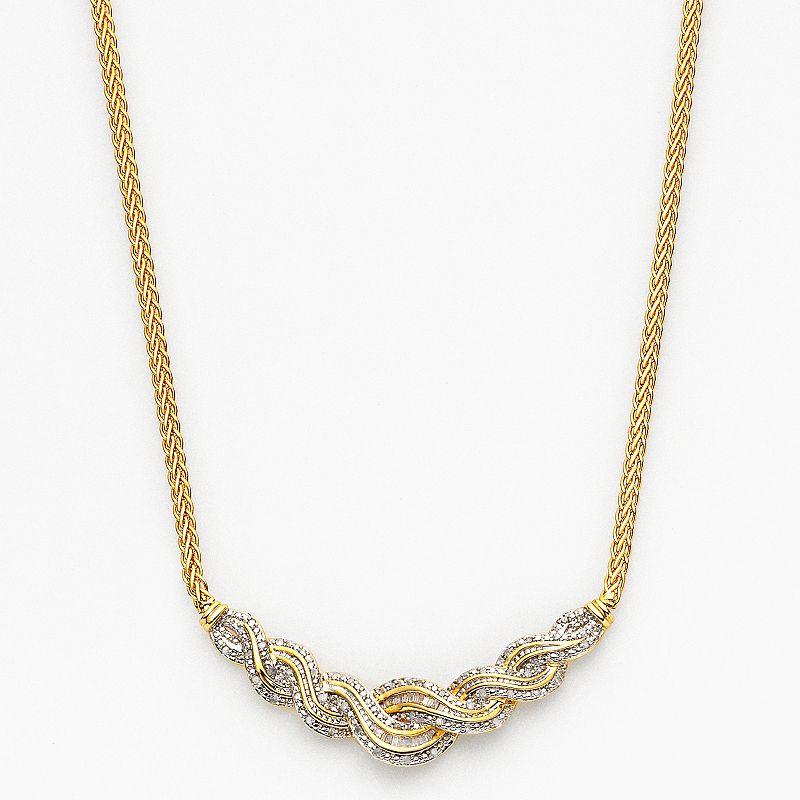 18k Gold Plated 1/2-ct. T.W. Diamond Twist Chevron Necklace