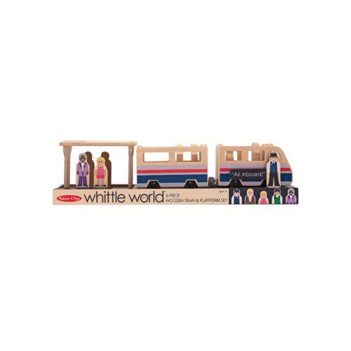 Melissa and Doug 9-pc. Whittle World Wooden Train Platform Set