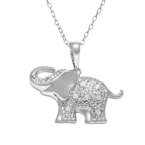 Sterling Silver 1/10-ct. T.W. Diamond Elephant Pendant