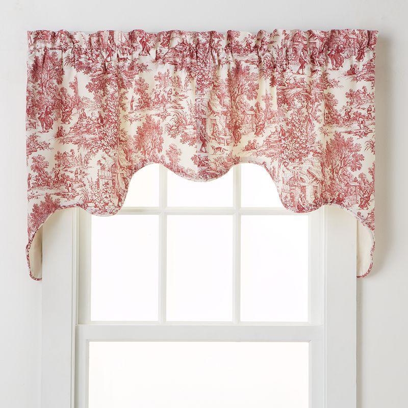 Ellis Curtains Toile Empress Window Valances, Red