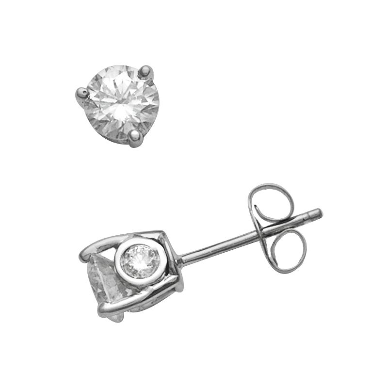 14k White Gold 1-ct. T.W. Round-Cut Diamond Solitaire Stud Earrings