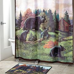 Avanti Black Bear Lodge Fabric Shower Curtain by