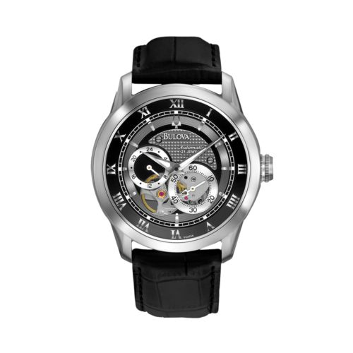 Bulova Stainless Steel Leather Automatic Skeleton Watch - 96A135 - Men