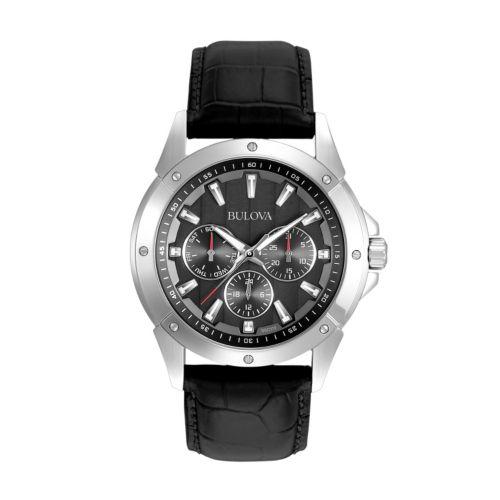 Bulova Stainless Steel Leather Watch - 96C113 - Men