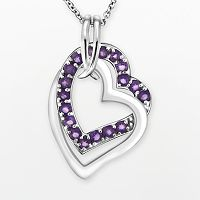 Two Hearts Forever One Sterling Silver Amethyst Double Heart Pendant
