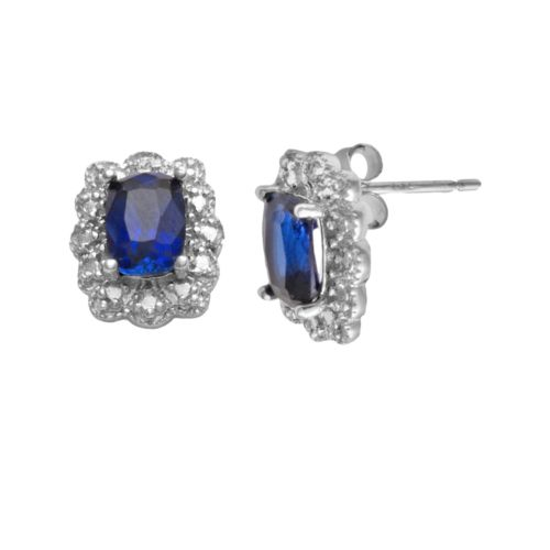 Sterling Silver Lab-Created Sapphire and Diamond Accent Stud Earrings