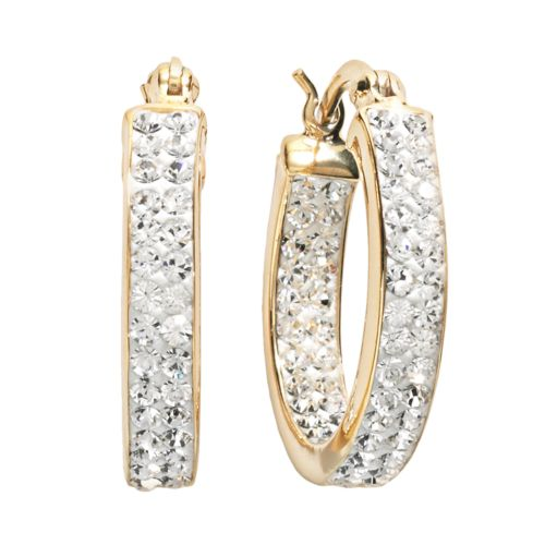 Sterling 'N' Ice 14k Gold Over Silver Crystal Hoop Earrings - Made with Swarovski Elements