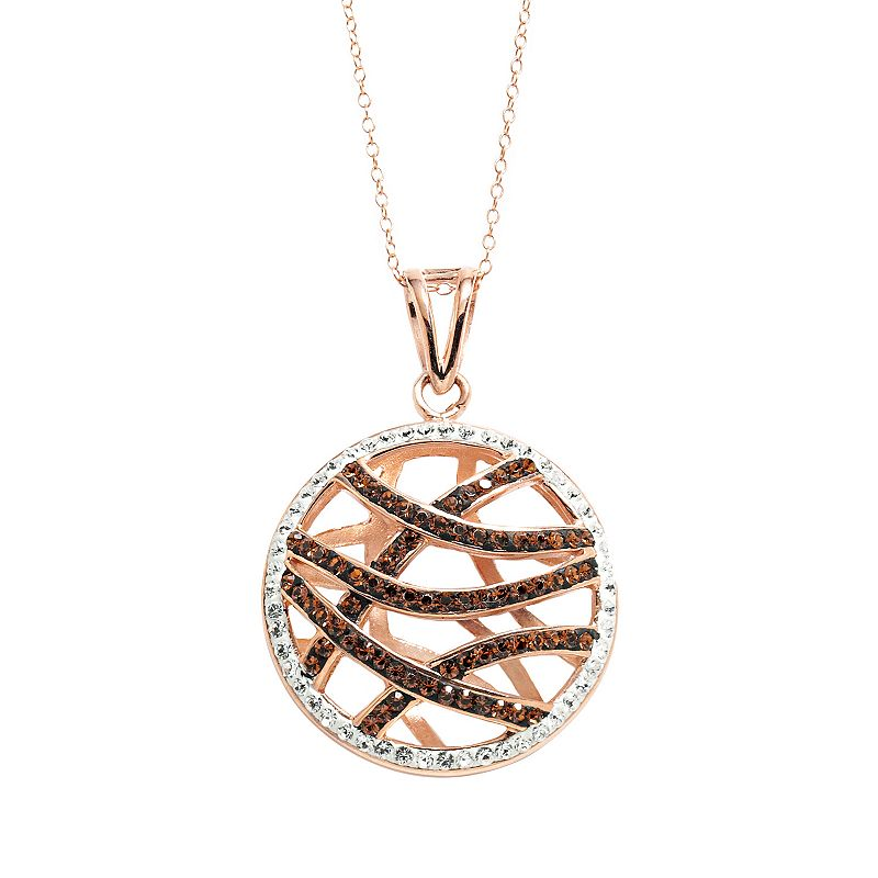 Sterling 'N' Ice 14k Rose Gold Over Silver Crystal Openwork Pendant - Made with Swarovski Crystals