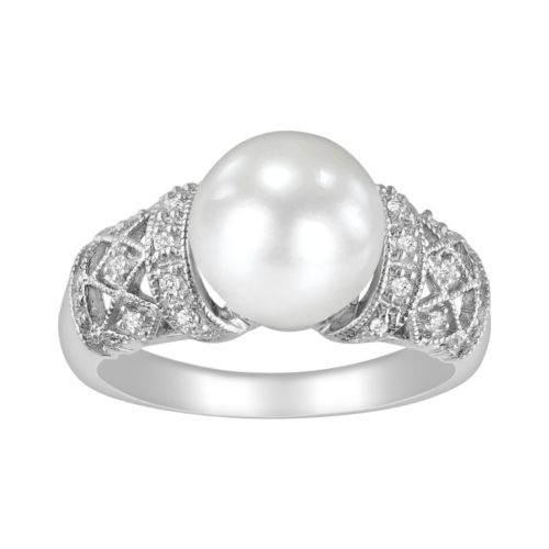 Sterling Silver 1/10-ct. T.W. Diamond and Freshwater Cultured Pearl Ring