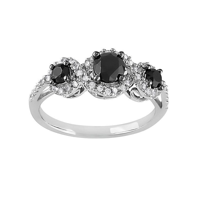 10k White Gold 1-ct. T.W. Black and White Diamond Ring