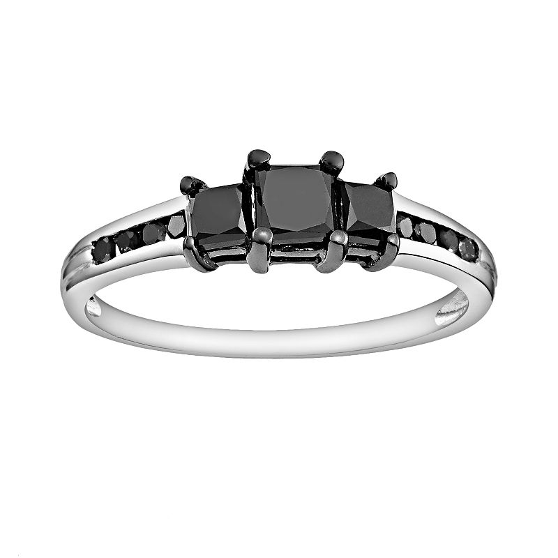Sterling Silver 1-ct. T.W. Black Diamond Ring