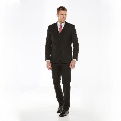 Big & Tall Savile Row Striped Black Suit Jacket