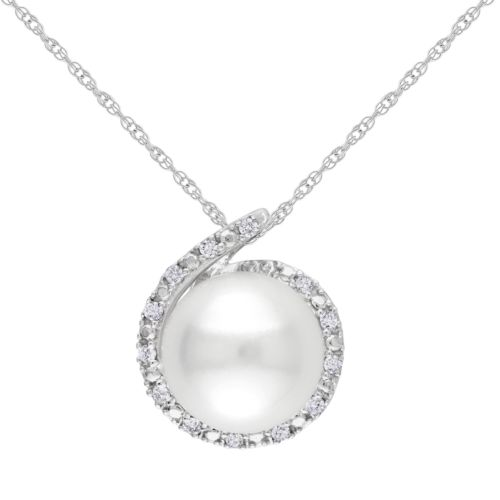 10k White Gold Freshwater Cultured Pearl and Diamond Accent Pendant