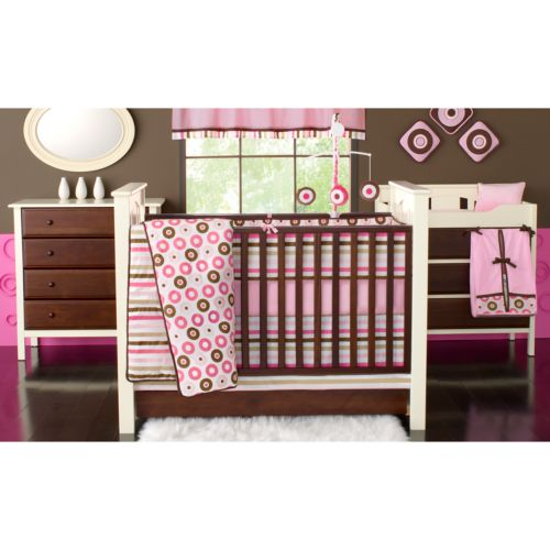 Bacati 10-pc. Mod Dots & Stripes Pink Crib Set