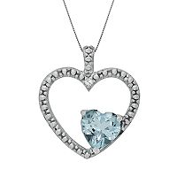 Sterling Silver Lab-Created Aquamarine & Diamond Accent Heart Pendant