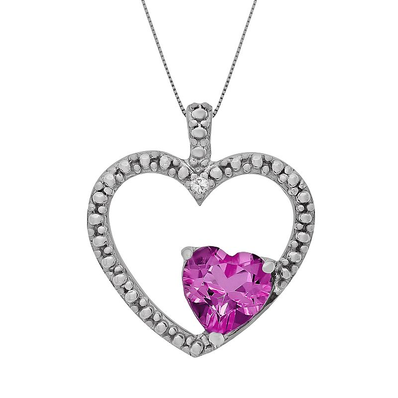 Sterling Silver Lab-Created Pink Sapphire and Diamond Accent Heart Pendant