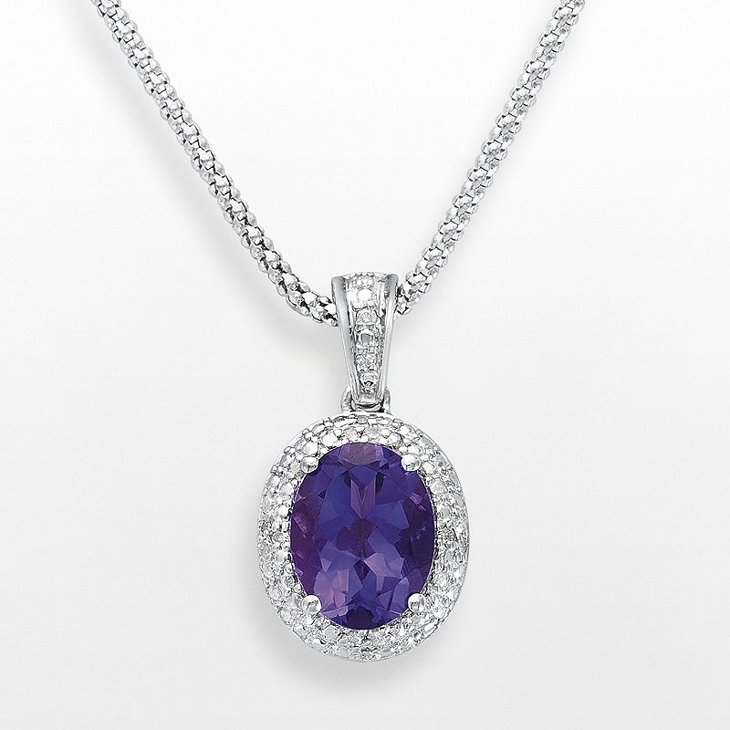 Sterling Silver Amethyst and Diamond Accent Oval Frame Pendant