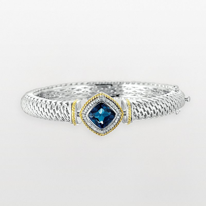 14k Gold and Sterling Silver 1/8-ct. T.W. Diamond and London Blue Topaz Bangle Bracelet