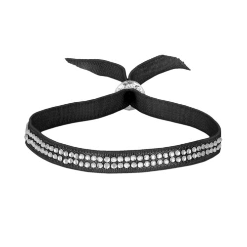 Silver Plate Simulated Crystal Ribbon Stretch Bracelet