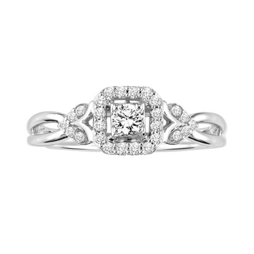 Simply Vera Vera Wang Diamond Halo Engagement Ring in 14k White Gold (1/5 ct. T.W.)
