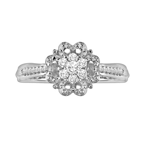Simply Vera Vera Wang Diamond Flower Engagement Ring in 14k White Gold (1/5-ct. T.W.)