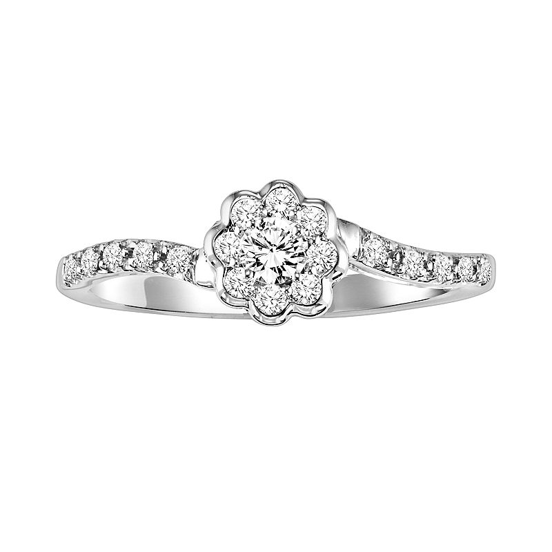 Simply Vera Vera Wang Diamond Flower Engagement Ring in 14k White Gold (1/4-ct. T.W.)