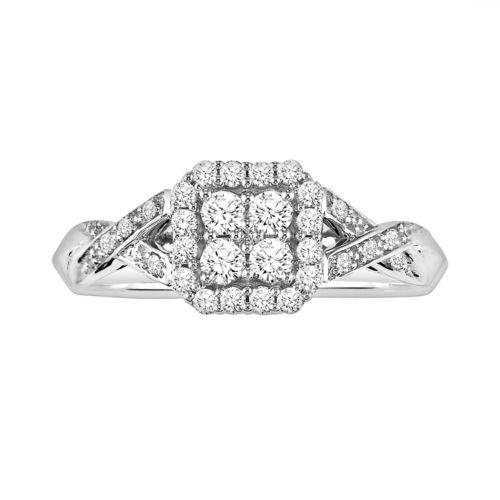 Simply Vera Vera Wang 14k White Gold 3/8-ct. T.W. Round-Cut Diamond Crisscross Ring