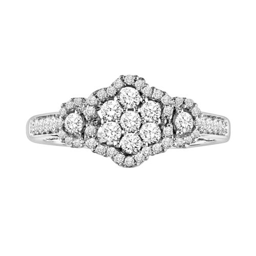 Simply Vera Vera Wang Diamond Flower Halo Engagement Ring in 14k White Gold (3/8 ct. T.W.)